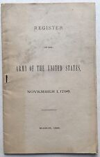 1888 Rare PAMPHLET Register ARMY Of The UNITED STATES 1796 Lieut Col ROBERT HALL