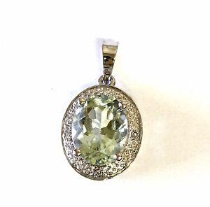 NEW 14k white gold green amethyst gemstone natural diamond pendant 1.8g halo