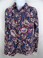 Women's Croft & Barrow Paisley Button Up Shirt NWT Spare Button Sz. Small S
