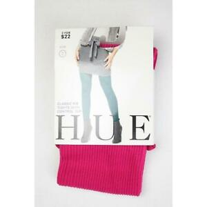 Hue Womens S/M Tights Pink Crimson Ribbed Hosiery Ladies Designer Fashion Sale