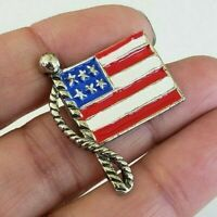 Vintage Small Enamel USA Flag Pin Silver Tone