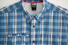 The North Face Outdoor Shirt Mens Short Sleeve Size XL Blue White Authentic Top