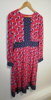 Boden 14L Coral Pink & Blue Long Sleeve Floral Dress Adjustable Neckline Floaty