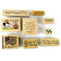 Lot of 9 Mixed  Rubber Stamps 1988-2001 Border Stamp Art Wood Flag Music
