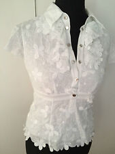 Karen Millen White 3D Flower Lace Embroidered Shirt Blouse Size 12-14
