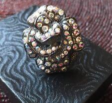 "Black Made with Swarovski AURORA Crystals Fashion Stretch Ring Abt 1.25"""