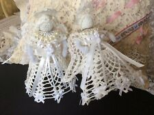 2 Starched Hand Crochet Lace Ornaments / Tabletop / Tree Topper Angels