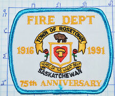 CANADA, ROSETOWN FIRE DEPT SASKATCHEWAN 75TH ANNIVERSARY 1991 PATCH