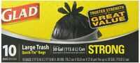 12 PACKS : Glad Quick TieTrash Bags, Large, 10 Count