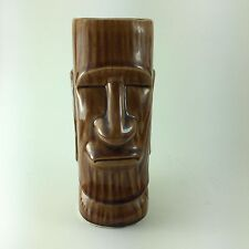 Otagiri OMC Moai Easter Island Brown Woodgrain Tiki Mug Straight Lips Flat Ears