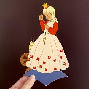 1940er Mertenskunst: Rosa Dornröschen mit Blumen-Krone 23cm Prinzessin Figur ALT