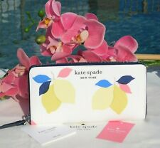 🌸 NWT Kate Spade Cameron Lemon Zest Large Continental Wallet White New $229