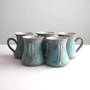 5 Victoria Littlejohn Pottery Stoneware Mugs Mid Century Modern California