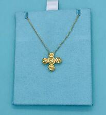 TIFFANY & CO. Spiro Swirl Rosebud Cross 18k Yellow Gold Vintage Pendant Necklace