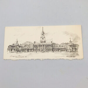 Vintage Independence Hall Philadelphia PA by Charles Overly Lithography Card