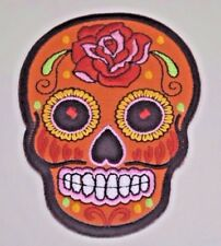 ORANGE SUGAR SKULL DESIGN TATTOO Embroidered Iron on Patch A1729