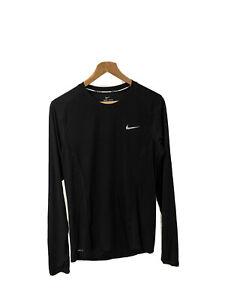 Nike Miler Dri Fit Mens long sleeve running top in black - Size S