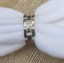 Sterling Silver Estate Ring Band Geometric  Design Size 7