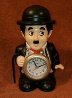 "8"" RHYTHM QUARTZ SPEAK UP ALARM CHARLIE CHAPLIN ALARM CLOCK WORKS"