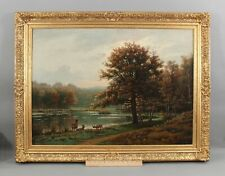 Large 1880 Antique EUGENE HALLION French Landscape w/ Deer Oil Painting, NR