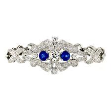 Antique Art Deco Platinum GIA Round Diamond Sapphire Infinity Leaf Link Bracelet