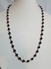 Vintage 14K Gold Onyx Bead Freshwater Pearl Necklace