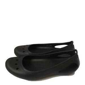 Crocs Mary Jane Kadee Black Flats Slip On Water Beach Sandals Women Size 8