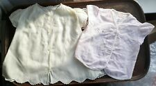 2 Vintage Dress Top clothes for Composition Doll or Baby Cotton Hand Embroider