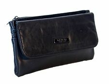Lorenz  Ladies High Quality Black Soft Nappa Leather Zip Top Slim Purse 1221