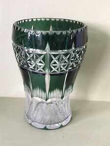 BEAUTIFUL GREEN CUT TO CLEAR VINTAGE  GLASS VASE - BOHEMIAN