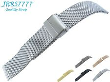 22mm Watch Bracelet Stainless Steel Silver Brushed 1.0mm Wire Mesh Classic Clasp