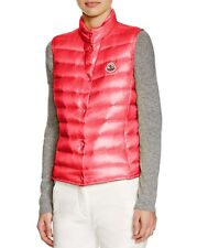 NEW $500 Moncler Women Liane Lightweight Down Vest, Bright Red Coral, Size 4/XL
