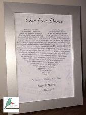First Dance song lyrics personalised print - Wedding Valentines Day Anniversary