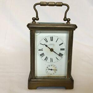 Edwardian Brass Cased Carriage Clock Timepiece Alarm Working Key Wind