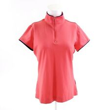 Nike Golf Dri-fit Womens Sz M Salmon Orange 1/4 Zip Short Sleeve Top Shirt