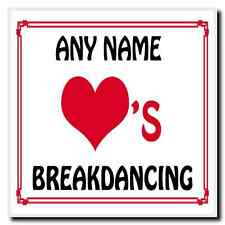 Love Heart Breakdancing Personalised Coaster