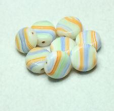 Murano indio 8 Perlas De Vidrio 15 X 15mm disco Crema/Multi (BBB643)