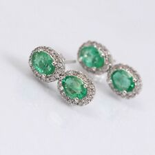 Natural Emerald Earrings Stud Faceted 925 Sterling Silver Dainty Boho Gift Her