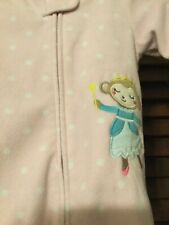 Carters Infant Baby Girls Pink Monkey Princess Sleeper 9M