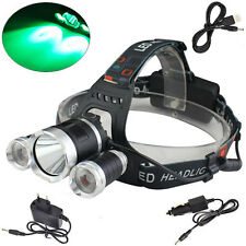 Rechargeable 6000lm GREEN&White XM-L T6+2R2 LED USB Headlamp Torch 18650 Charger