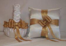 WHITE SATIN /  GOLD TRIM FLOWER GIRL BASKET & RING BEARER PILLOW #4