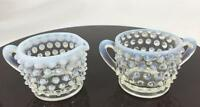 Fenton Glass Vtg Opalescent Hobnail Moonstone Mini Creamer Jug  Sugar Bowl Set 2