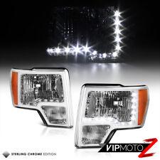 Ford 2009-2014 F150 Truck Chrome Diamond Headlight w/ LED Daytime DRL Strip Bar