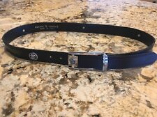 Gianni Versace Made In Italy Black Leather Belt Silver Medusa Accents