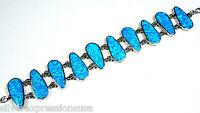 """Huge Blue Fire Opal Inlay 925 Sterling Silver Link Bracelet 7.25"""" adjustable 8"""""""