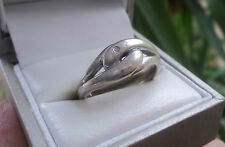 Attractive Vintage Sterling Silver Snake Ring with Diamond Eye  c.1990s - size Q