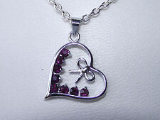UK Jewellery Silver Rhinstone Heart Pendant + 18 inch 2mm Trace Necklace Chain