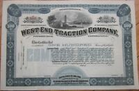 West End Traction Co. 1890 Railroad/Trolley Stock Certificate - Pittsburgh, PA