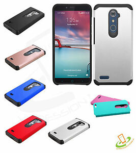 For ZTE Zmax Pro /Max 2 Hybrid TUFF Shockproof Rubber Protective Case Cover Plug