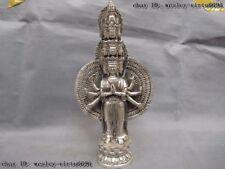 Tibet Buddhism White Copper Silver 1000 Hand Avalokitesvara Guan yin Kwan-yin